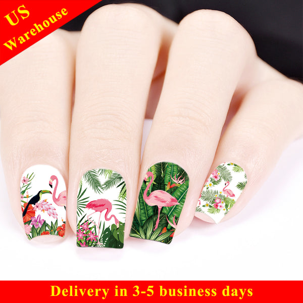 Tropical Theme Flamingo Pattern Water Decals Transfer Nail Art Stickers BBB026 (US Warehouse)