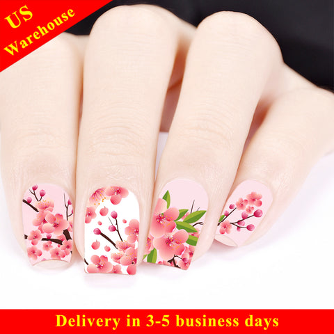 Cherry Blossom Theme Water Decals Transfer Nail Art Stickers BBB027 (US Warehouse)
