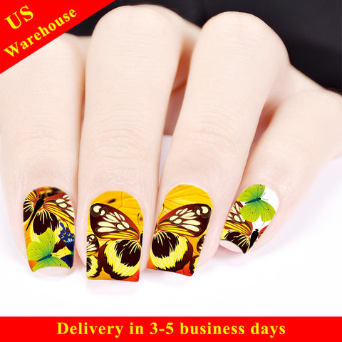 Butterfly Wing Theme Water Decals Transfer Nail Art Stickers BBB028 (US Warehouse)