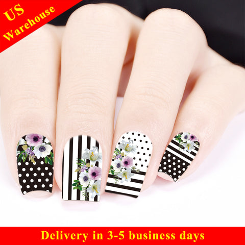 Plaid Theme Flower Design Water Decals Transfer Nail Art Stickers BBB029 (US Warehouse)