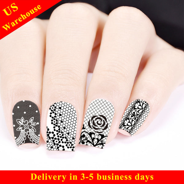 Lace Floral Design Water Decals Transfer Nail Art Stickers BBB030 (US Warehouse)
