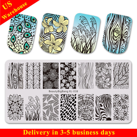 Leaves Flower Theme Rectangle Nail Stamping Plate Peacock Tail Design Nail Art Tool BBBXL-038