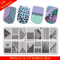 Irregular Stripe Theme Rectangle Nail Stamping Plate Dot Design Nail Art Tool BBBXL-043