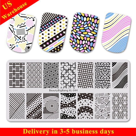 Diamond Stripe Theme Rectangle Nail Stamping Plate Triangle Design Nail Art Tool BBBXL-044