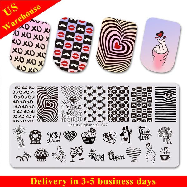Cocktail Love Theme Rectangle Nail Stamping Plate diamond beard Design Nail Art Tool BBBXL-047