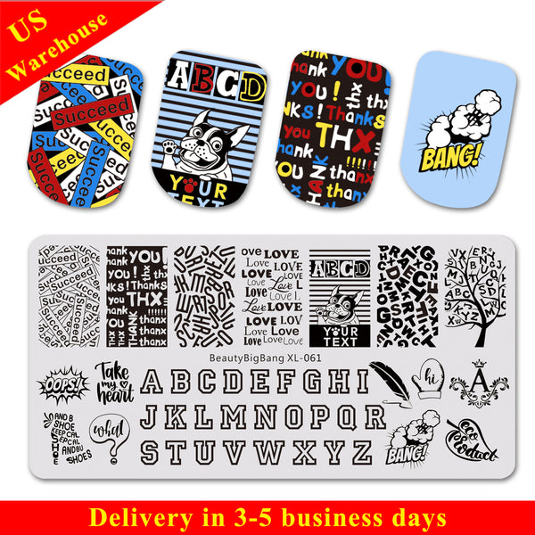 Alphabet Theme Rectangle Nail Art Stamping Plate Word Pattern BBBXL-061
