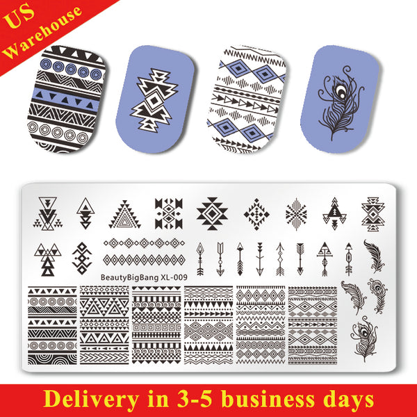 Geometric Theme Rectangle Nail Stamping Plate Triangle Feather Design Nail Art Tool BBBXL-009