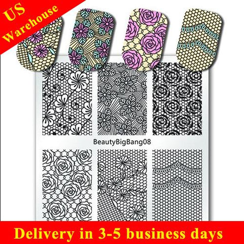 Floral Nail Stamping Plate Rose Flower Spot Pattern For Manicure (US warehouse)