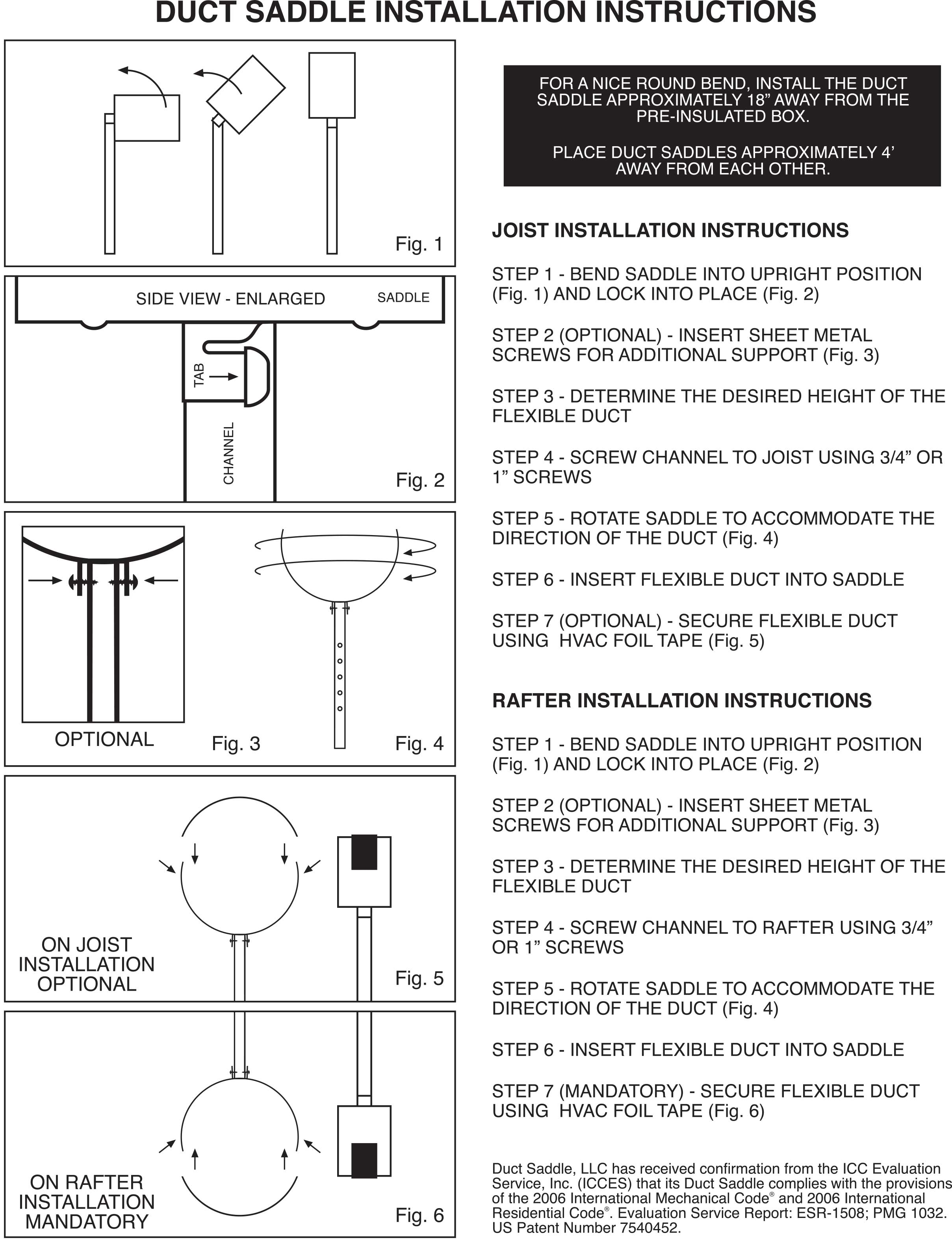 Duct Saddle joist and rafter installation instructions