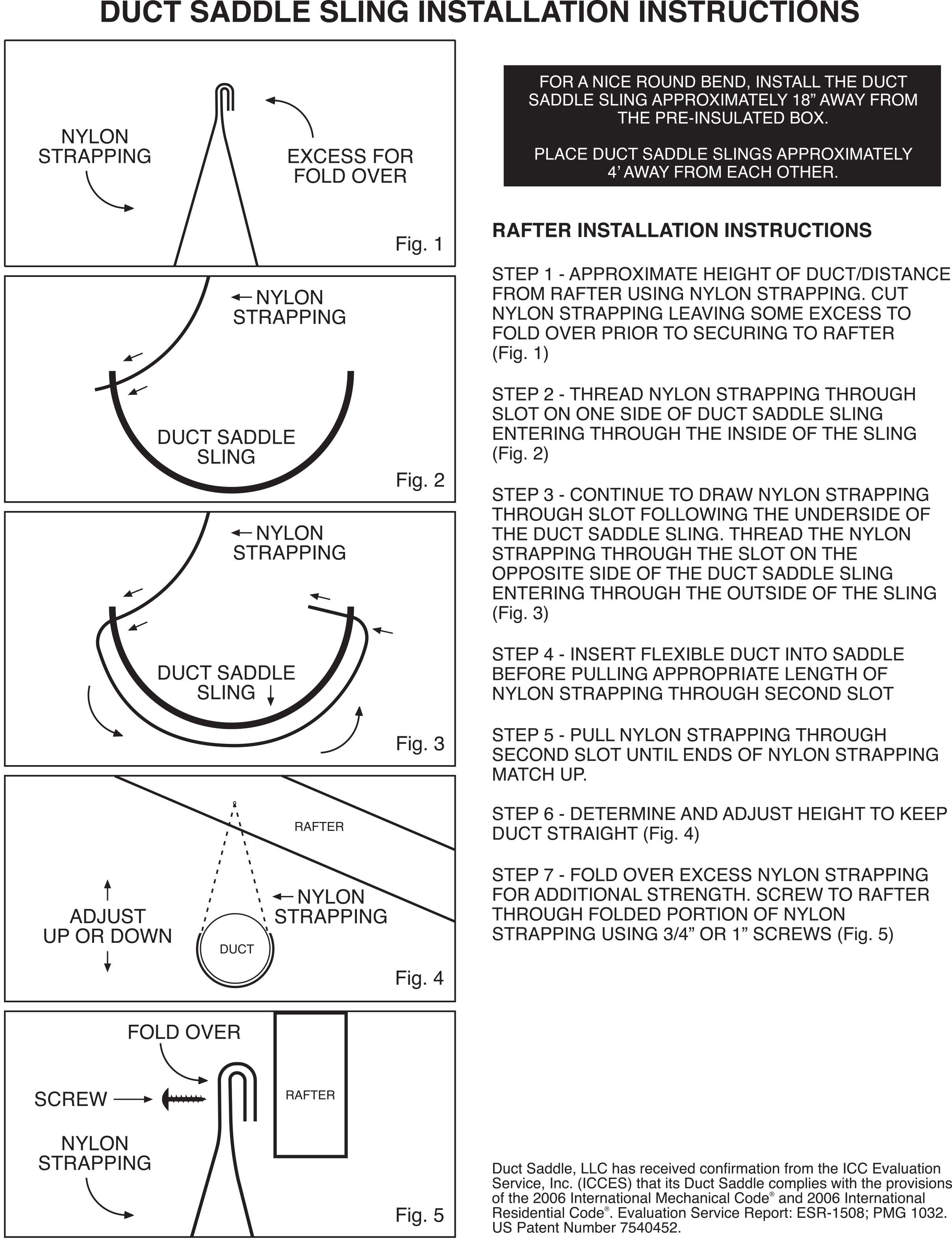 Duct Saddle Sling installation instructions