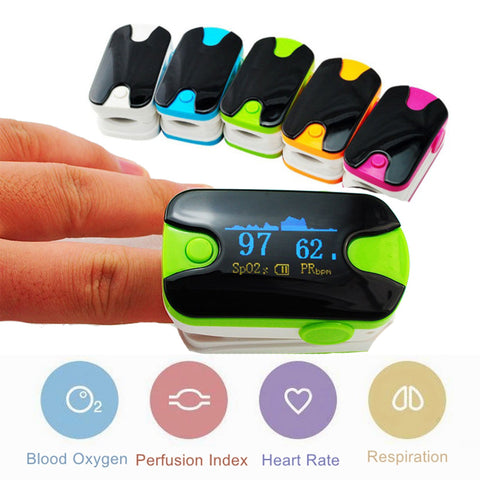 OLED Fingertip Pulse Oximeter With Audio Alarm & Respiration Rate Monitor