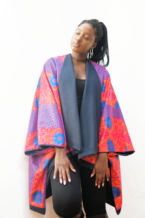 Cara Reversible Wool Poncho
