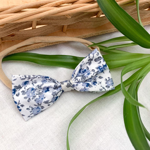 Blue and white headband bow for babies toddlers and infants locally handmade