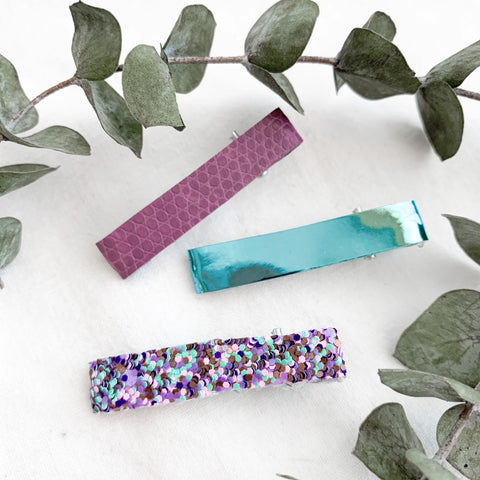 Mermaid inspired toddler hair clips: purple, blue, and purple and blue confetti glitter