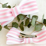 Pink and white striped baby and toddler bows