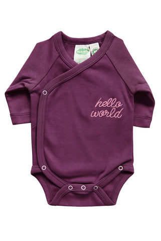 Hello World! Onesie in Plum 0-6m