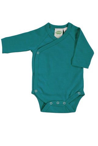 Essentials Kimono Body Suit: Teal 0-12m