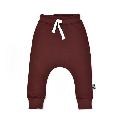 Toddler and child harm joggers in wine red. Handmade in Ontario, Canada