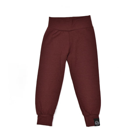Baby, toddler, and child size lounge pants and leggings in wine red. Handmade in Ontario, Canada