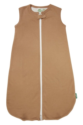 Plain gender neutral sleep sack in light brown for boys or girls. Organic cotton and ethically made