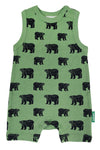 A fair trade green tank romper with hand printed black bears. The organic cotton onesie has short sleeves and short pants for babies and toddlers in the summer.