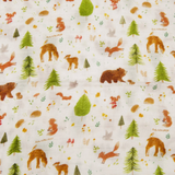 A close up of the swaddle, showing bear, deer, foxes, owls, squirrels, mushrooms, leaves, and evergreen trees