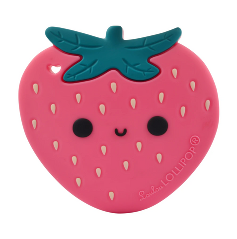 A cute pink smiling strawberry teething toy from Loulou Lollipop