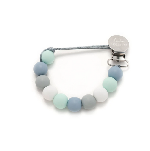 A beaded silicone pacifier clip with blue, mint, and white beads.