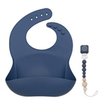 The navy blue silicone bib in a baby shower bundle