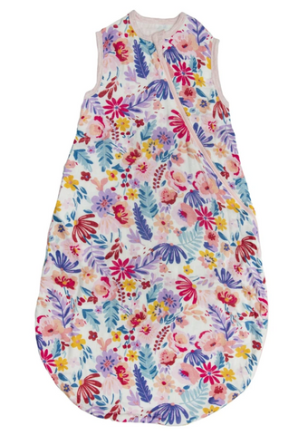 A floral muslin sleep sack from Loulou Lollipop with pink, purple, blue, red, and yellow flowers