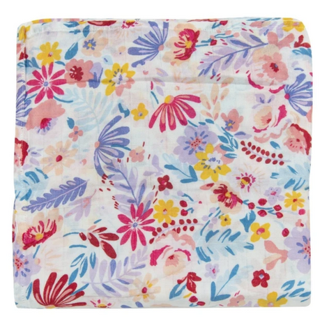 Floral muslin swaddle with pink, red, purple, blue, and yellow flowers