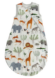 Safari sleep sack with lions, leopards, elephants, rhinos, zebras, and gazelles