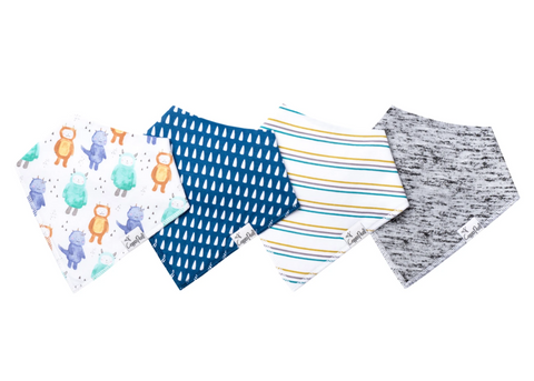 4 Pack of baby boy bandana bibs for drool bibs.