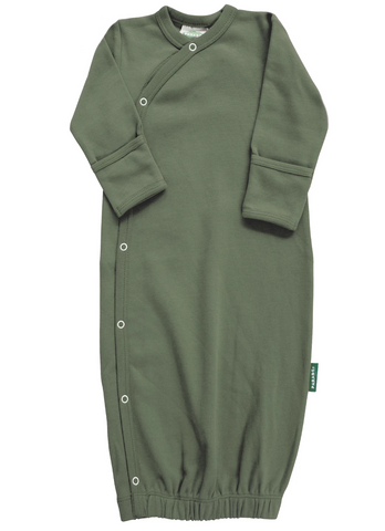 Organic cotton button down sleep sack in gender neutral green.