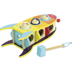 Space themed toddler whacking hammer wooden toy
