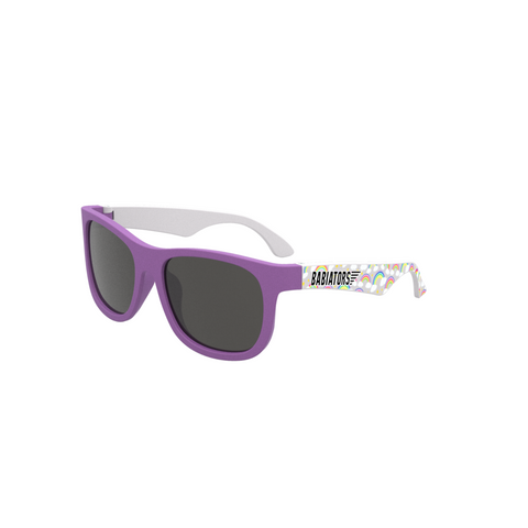 Purple baby and toddler sunglasses with a rainbow print on the sides
