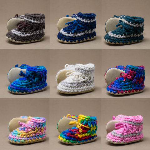 Canadian Handmade wool baby slippers with ankle draw stings and leather soles