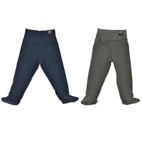 Newborn lounge leggings / pants available in both grey and navy. Come with feet built in and a cuffable wasitband