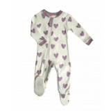 Creamy white footed pyjamas with a light purple heart patters. Made with 100% organic cotton