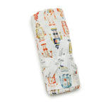 Baby boy vintage robot muslin swaddle made from eco friendly bamboo rayon
