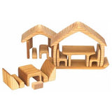 Natural Wood House Blocks