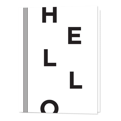 "A gender neutral baby shower or baby gifting card that says ""hello"" on the front in black and white"