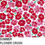 A close up of the bright pink flower pattern, called SUMMER FLOWER CRUSH cotton