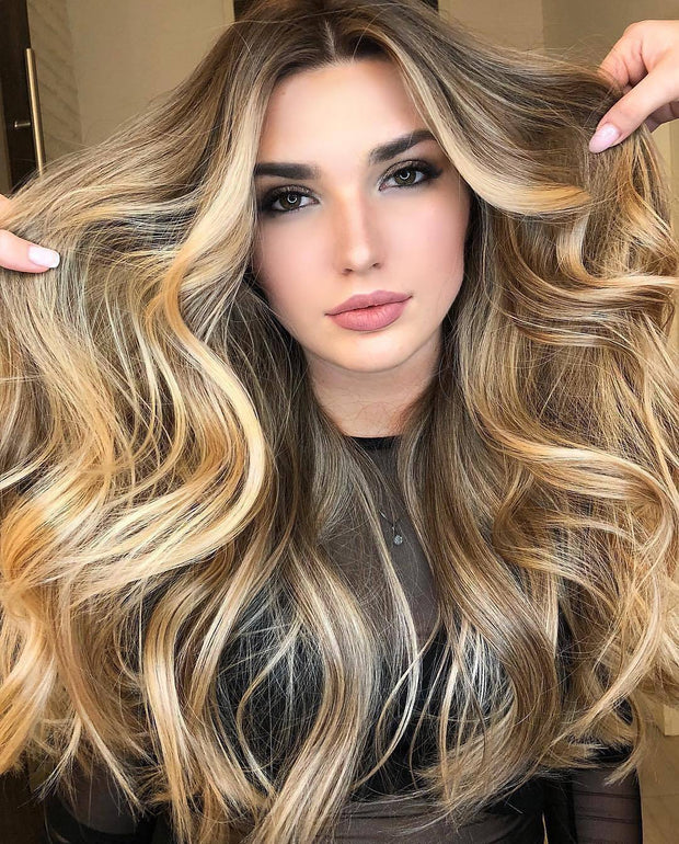 blended blonde brown wave hair
