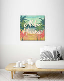 Retro Hawaiian Beach - Wood Print