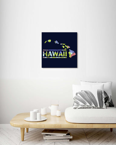 Map of Hawaii Tropical Plants Pattern