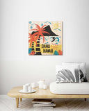 Oahu Hawaii Retro Style - Wood Print