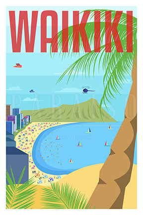 Waikiki Beach Shore Travel Art