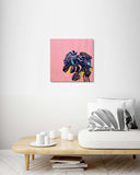 Retro Monstera Leaves Pink Background - Wood Print