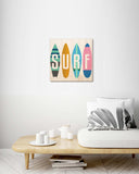 Retro Surfboards - Wood Print